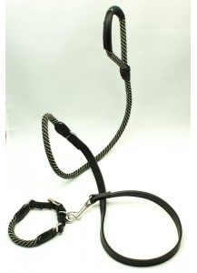 "Dog Leather plus Braided Cord Leash ""Braided Joys"""